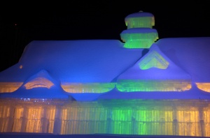 Large Ice Sculpture at night
