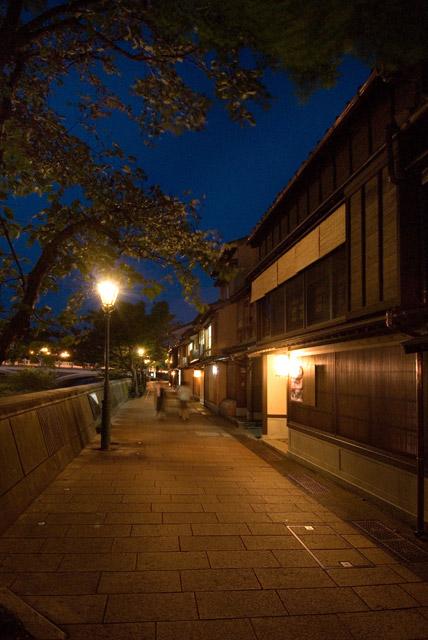 Higashichaya at night.