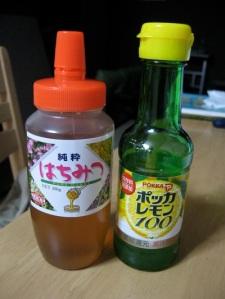 "Left: Honey (Hachimitsu); right: Lemon juice (Pokka brand ""Remon 100"")"